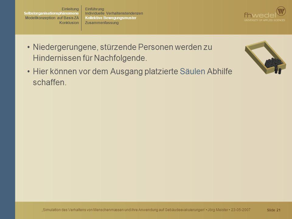 """Slide 21 """"Simulation des Verhaltens von Menschenmassen und ihre Anwendung auf Gebäudeevakuierungen"""" Jörg Meister 23-05-2007 Niedergerungene, stürzende"""