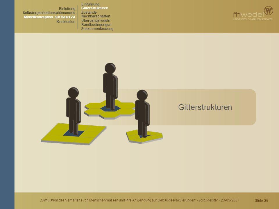 """Slide 25 """"Simulation des Verhaltens von Menschenmassen und ihre Anwendung auf Gebäudeevakuierungen"""" Jörg Meister 23-05-2007 Gitterstrukturen Einleitun"""