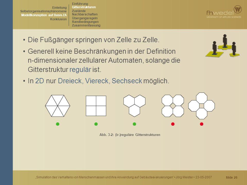 """Slide 26 """"Simulation des Verhaltens von Menschenmassen und ihre Anwendung auf Gebäudeevakuierungen"""" Jörg Meister 23-05-2007 Die Fußgänger springen von"""