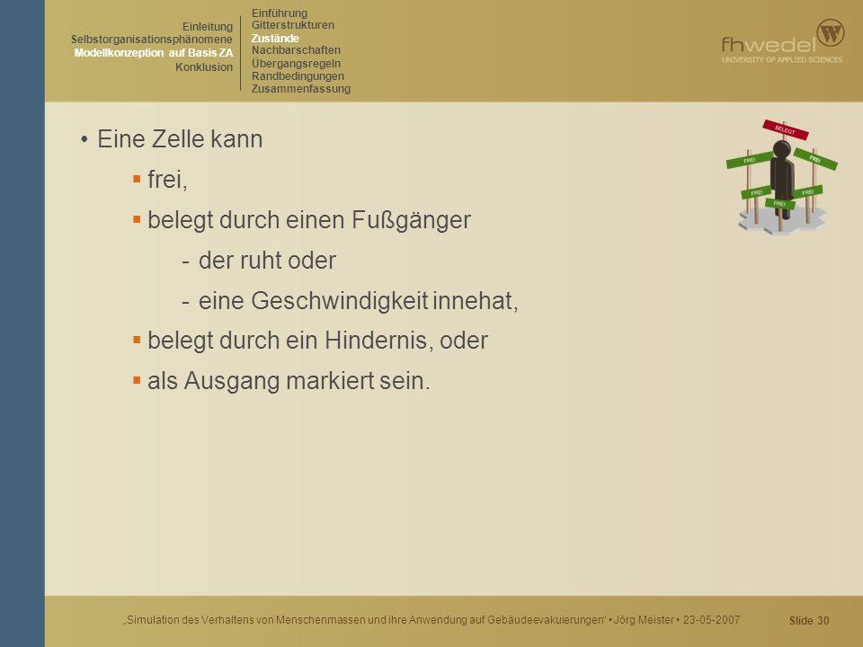 """Slide 30 """"Simulation des Verhaltens von Menschenmassen und ihre Anwendung auf Gebäudeevakuierungen"""" Jörg Meister 23-05-2007 Eine Zelle kann  frei, """