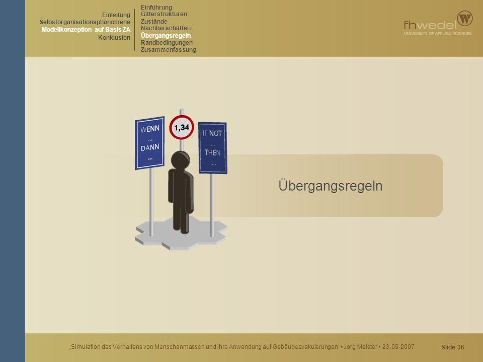 """Slide 36 """"Simulation des Verhaltens von Menschenmassen und ihre Anwendung auf Gebäudeevakuierungen"""" Jörg Meister 23-05-2007 Übergangsregeln Einführung"""