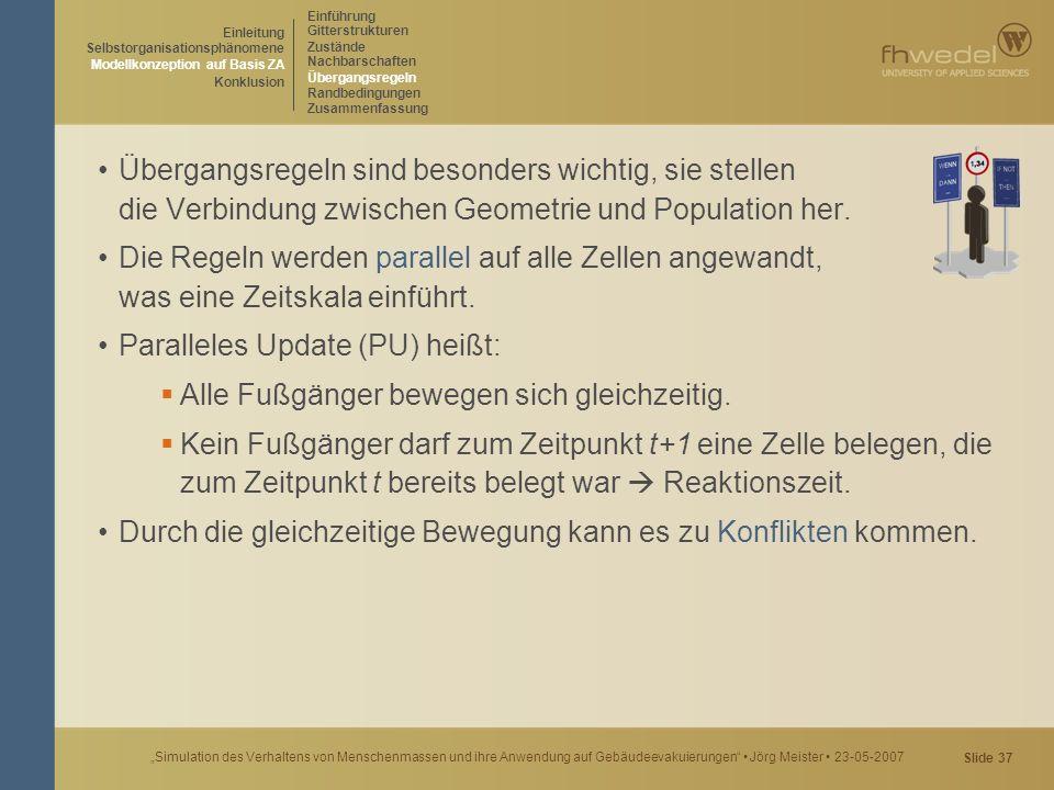 """Slide 37 """"Simulation des Verhaltens von Menschenmassen und ihre Anwendung auf Gebäudeevakuierungen"""" Jörg Meister 23-05-2007 Übergangsregeln sind beson"""