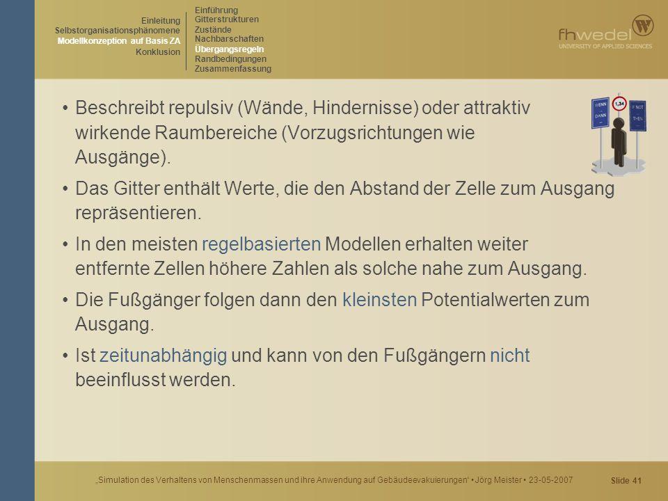 """Slide 41 """"Simulation des Verhaltens von Menschenmassen und ihre Anwendung auf Gebäudeevakuierungen"""" Jörg Meister 23-05-2007 Beschreibt repulsiv (Wände"""