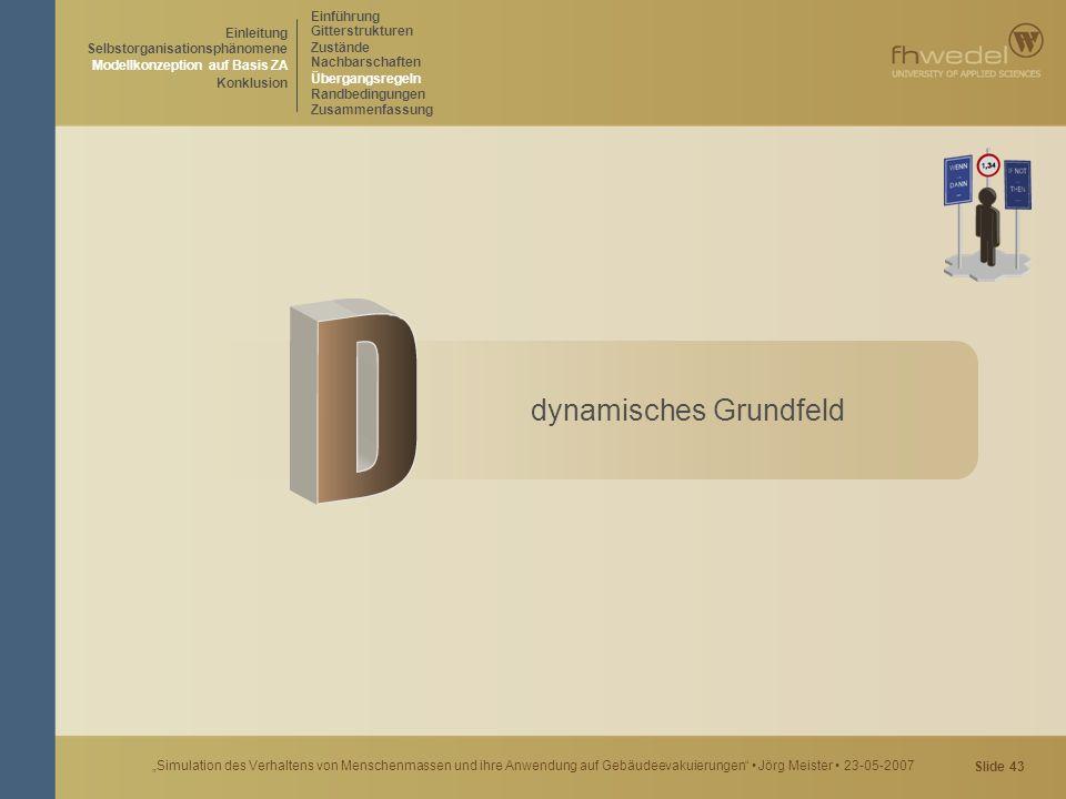 """Slide 43 """"Simulation des Verhaltens von Menschenmassen und ihre Anwendung auf Gebäudeevakuierungen"""" Jörg Meister 23-05-2007 dynamisches Grundfeld Einf"""