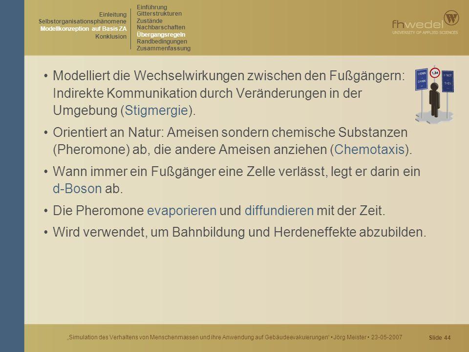 """Slide 44 """"Simulation des Verhaltens von Menschenmassen und ihre Anwendung auf Gebäudeevakuierungen"""" Jörg Meister 23-05-2007 Modelliert die Wechselwirk"""