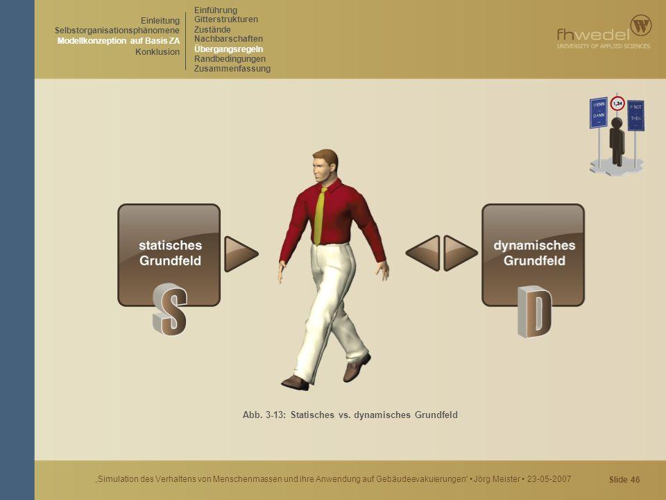 """Slide 46 """"Simulation des Verhaltens von Menschenmassen und ihre Anwendung auf Gebäudeevakuierungen"""" Jörg Meister 23-05-2007 Abb. 3-13: Statisches vs."""