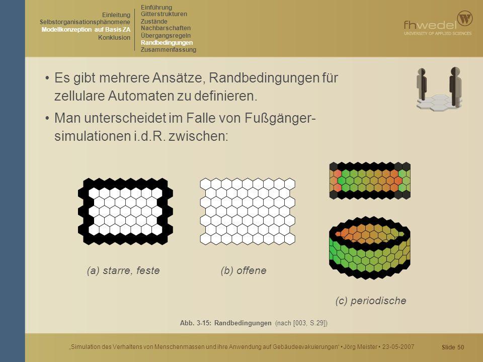 """Slide 50 """"Simulation des Verhaltens von Menschenmassen und ihre Anwendung auf Gebäudeevakuierungen"""" Jörg Meister 23-05-2007 Es gibt mehrere Ansätze, R"""