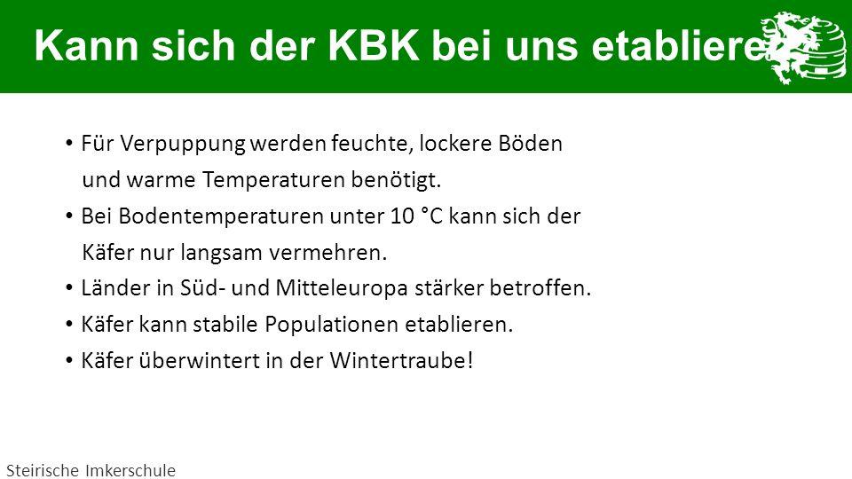 Kann sich der KBK bei uns etablieren? Für Verpuppung werden feuchte, lockere Böden und warme Temperaturen benötigt. Bei Bodentemperaturen unter 10 °C