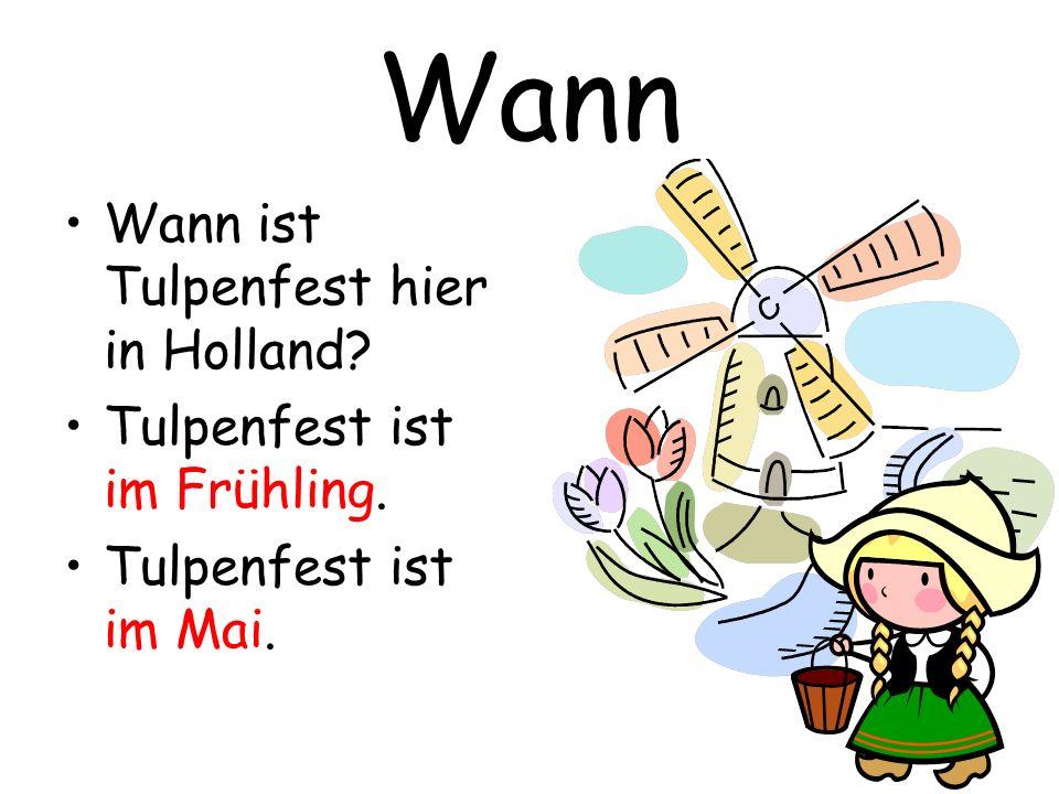 Wann Wann ist Tulpenfest hier in Holland? Tulpenfest ist im Frühling. Tulpenfest ist im Mai.