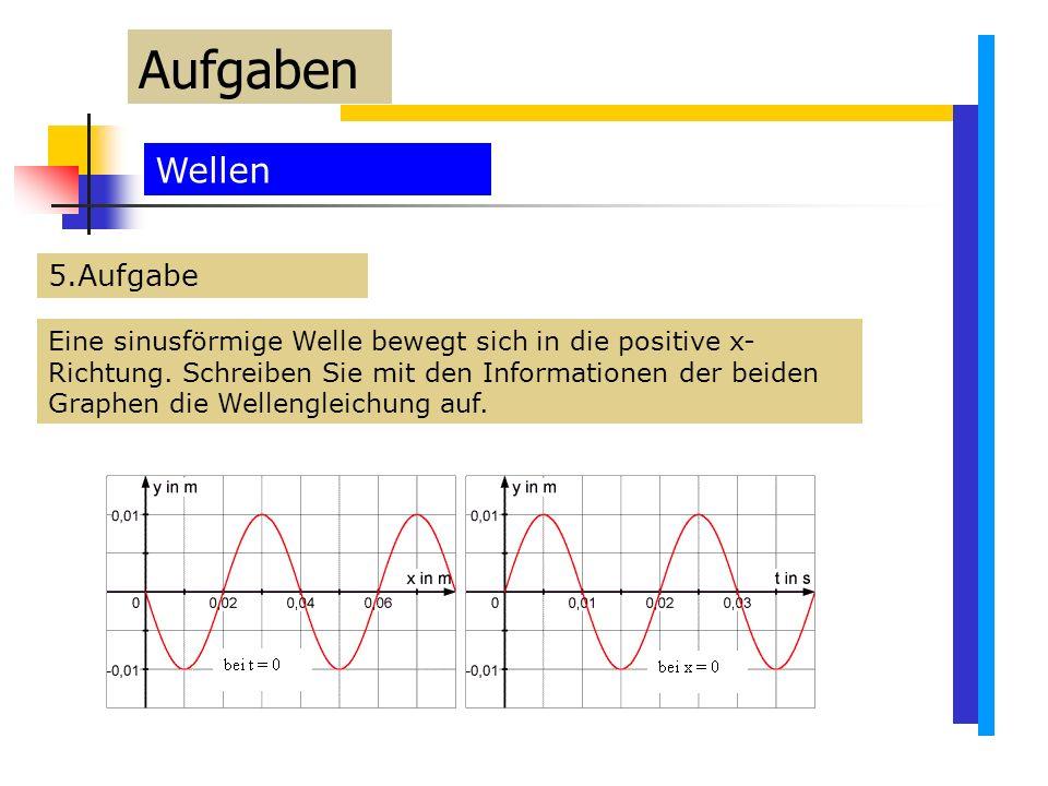 Aufgaben Wellen 5.Aufgabe Eine sinusförmige Welle bewegt sich in die positive x- Richtung.