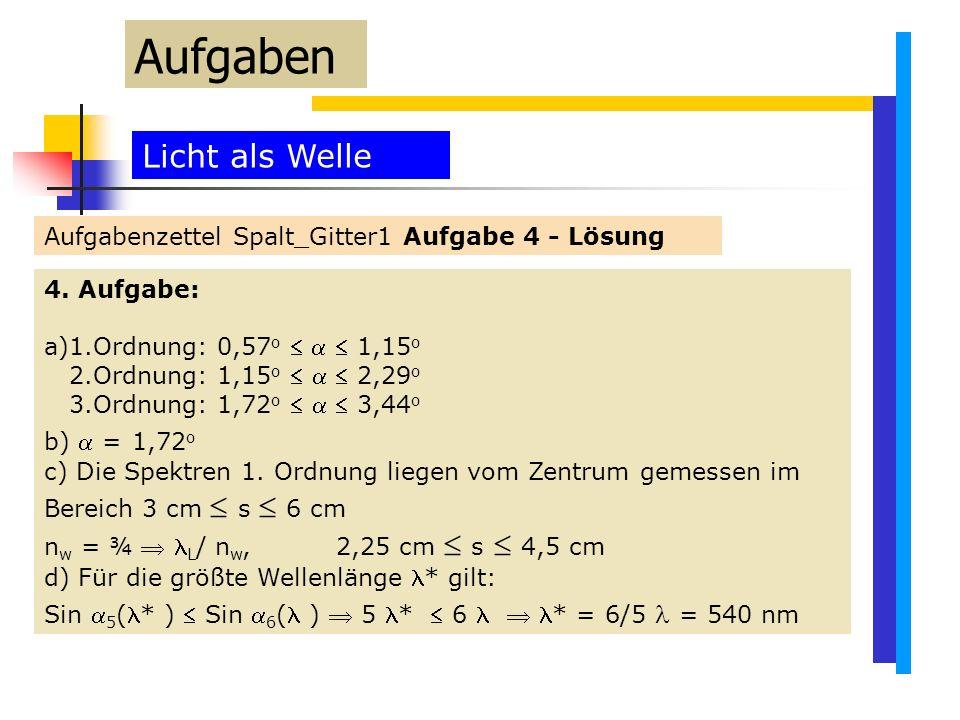 Licht als Welle Aufgabenzettel Spalt_Gitter1 Aufgabe 4 - Lösung Aufgaben 4.