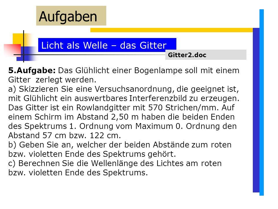 Licht als Welle – das Gitter Aufgaben Gitter2.doc 5.Aufgabe: Das Glühlicht einer Bogenlampe soll mit einem Gitter zerlegt werden.