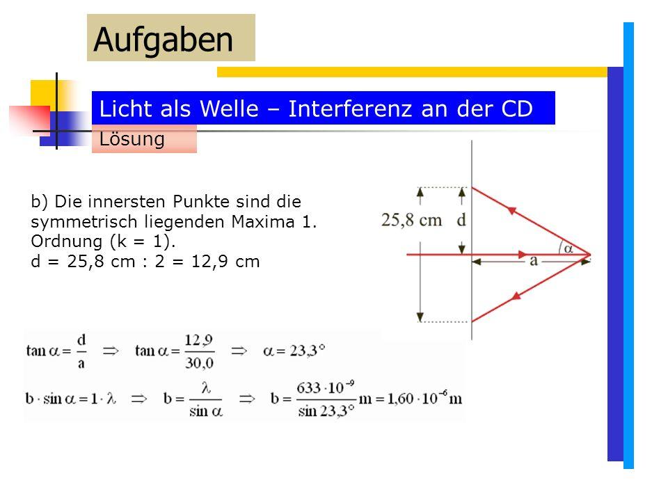 Licht als Welle – Interferenz an der CD Aufgaben b) Die innersten Punkte sind die symmetrisch liegenden Maxima 1.