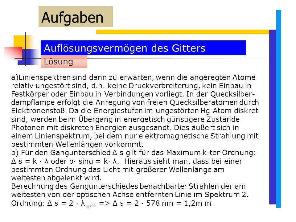 Auflösungsvermögen des Gitters Aufgaben a)Linienspektren sind dann zu erwarten, wenn die angeregten Atome relativ ungestört sind, d.h.