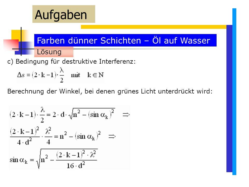 Farben dünner Schichten – Öl auf Wasser Aufgaben c) Bedingung für destruktive Interferenz: Berechnung der Winkel, bei denen grünes Licht unterdrückt wird: Lösung