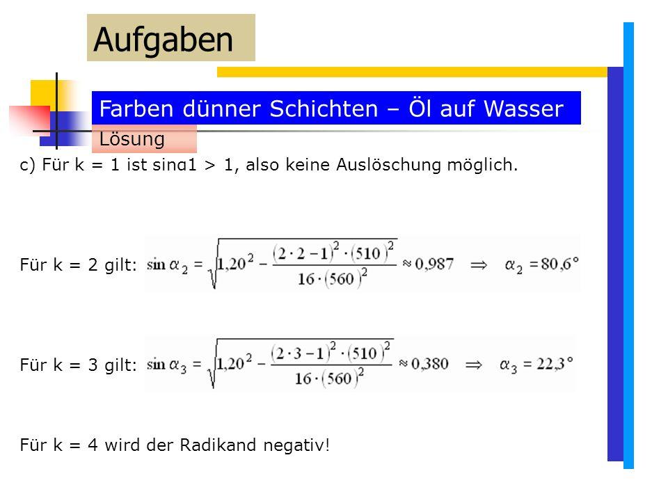 Farben dünner Schichten – Öl auf Wasser Aufgaben c) Für k = 1 ist sinα1 > 1, also keine Auslöschung möglich.