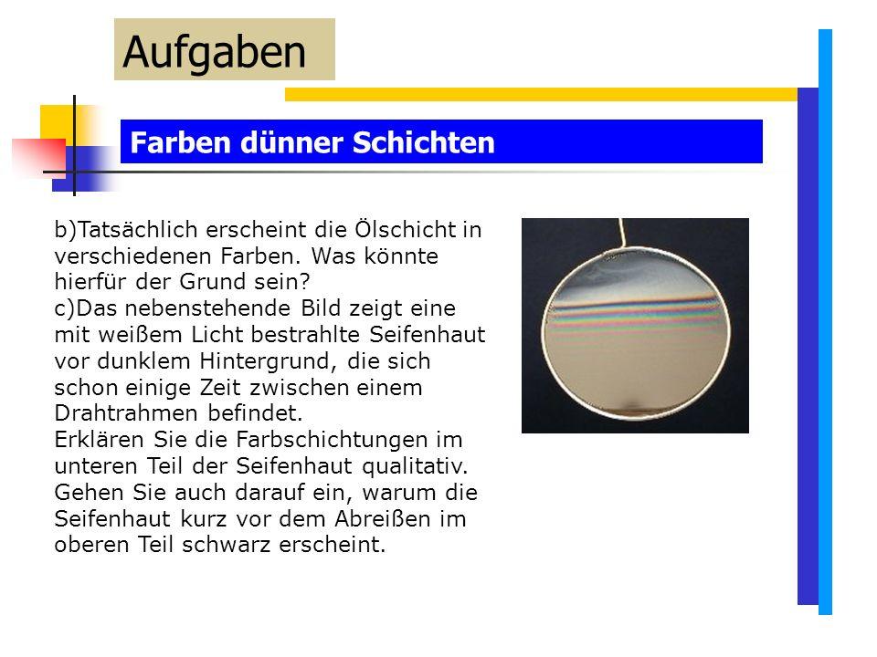 Farben dünner Schichten Aufgaben b)Tatsächlich erscheint die Ölschicht in verschiedenen Farben.