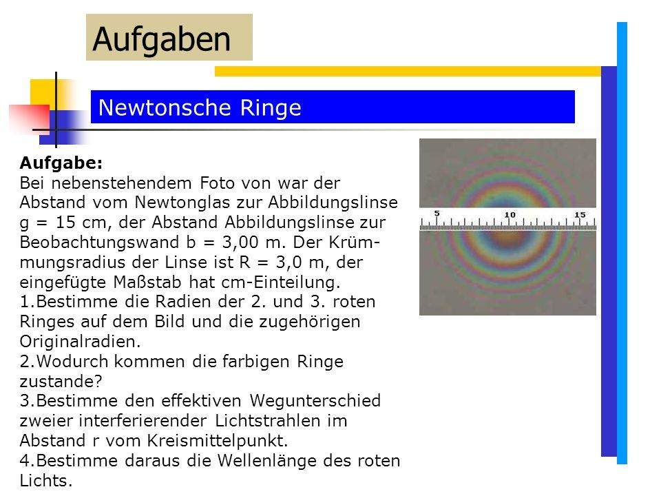 Newtonsche Ringe Aufgaben Aufgabe: Bei nebenstehendem Foto von war der Abstand vom Newtonglas zur Abbildungslinse g = 15 cm, der Abstand Abbildungslinse zur Beobachtungswand b = 3,00 m.