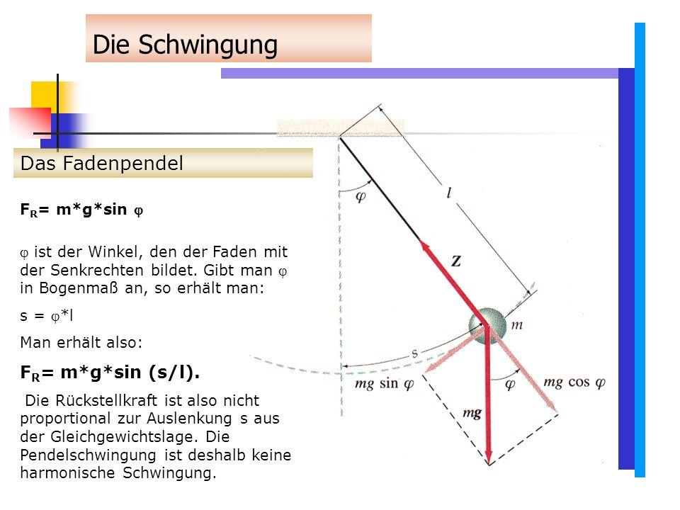 Das Fadenpendel Die Schwingung F R = m*g*sin   ist der Winkel, den der Faden mit der Senkrechten bildet.