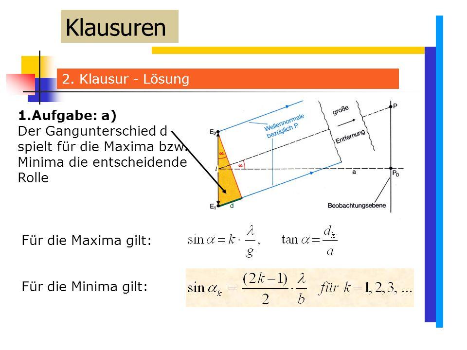 2. Klausur - Lösung Klausuren Für die Maxima gilt: Für die Minima gilt: 1.Aufgabe: a) Der Gangunterschied d spielt für die Maxima bzw. Minima die ents