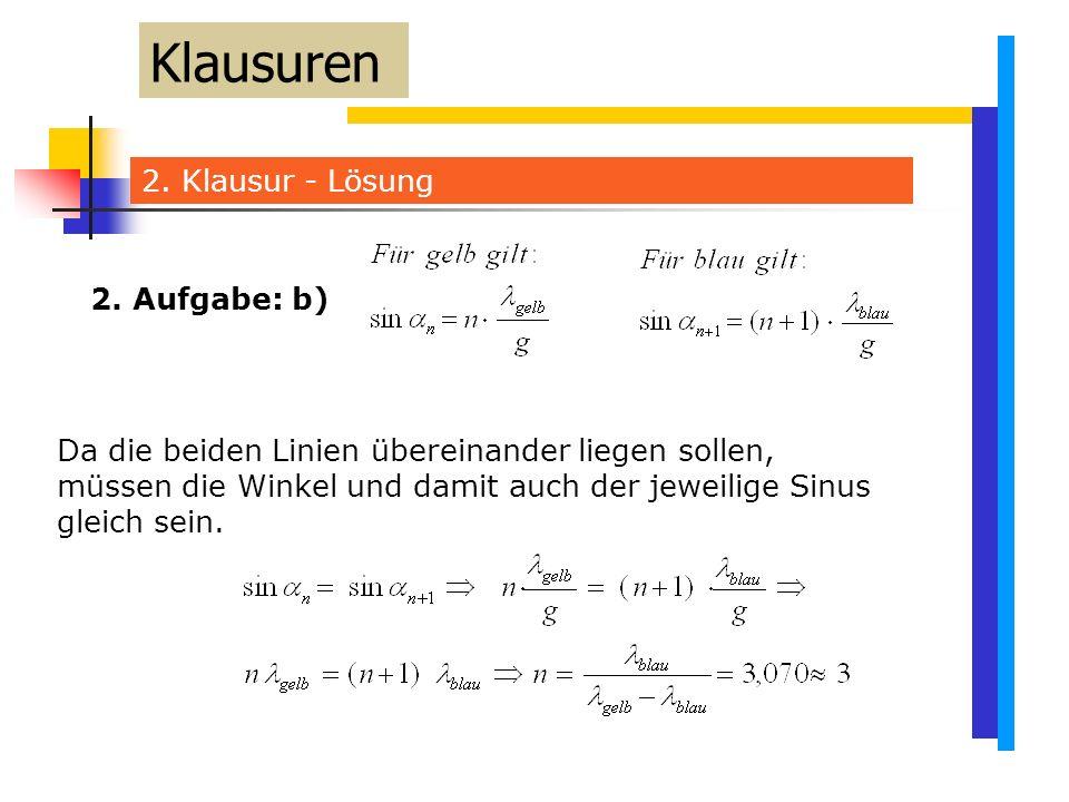 2. Klausur - Lösung Klausuren Da die beiden Linien übereinander liegen sollen, müssen die Winkel und damit auch der jeweilige Sinus gleich sein. 2. Au