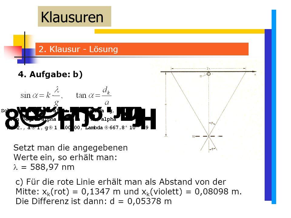 2. Klausur - Lösung Klausuren Setzt man die angegebenen Werte ein, so erhält man: = 588,97 nm 4.