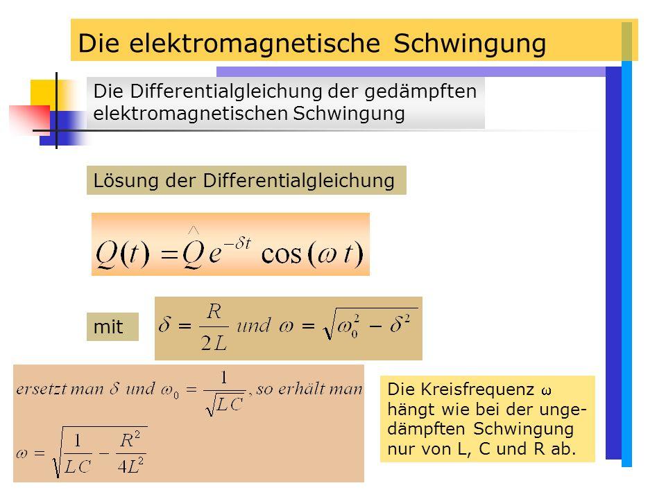 Die elektromagnetische Schwingung Lösung der Differentialgleichung mit Die Kreisfrequenz  hängt wie bei der unge- dämpften Schwingung nur von L, C und R ab.