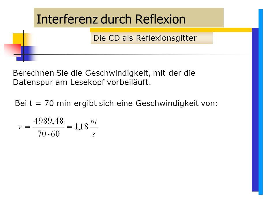 Interferenz durch Reflexion Die CD als Reflexionsgitter Berechnen Sie die Geschwindigkeit, mit der die Datenspur am Lesekopf vorbeiläuft.