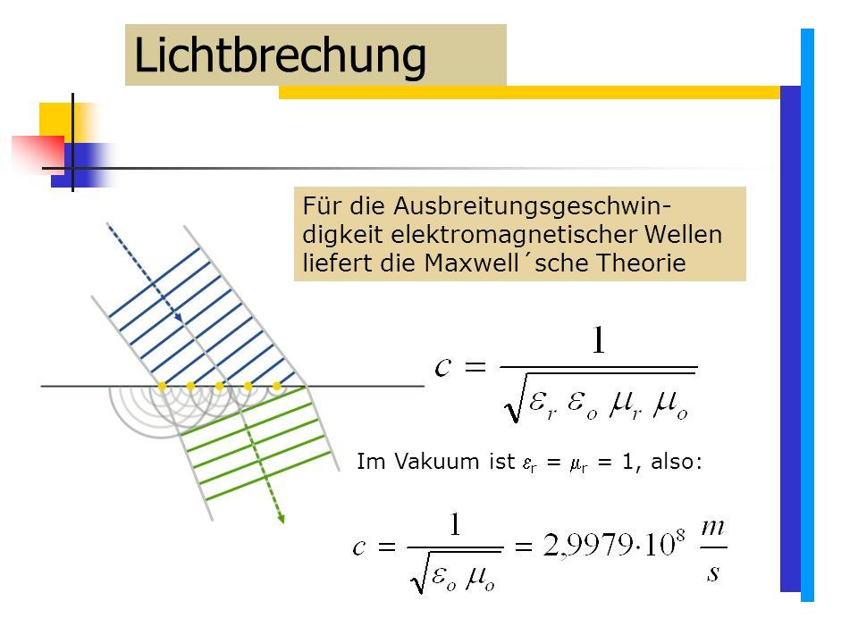 Für die Ausbreitungsgeschwin- digkeit elektromagnetischer Wellen liefert die Maxwell´sche Theorie Im Vakuum ist  r =  r = 1, also: Lichtbrechung
