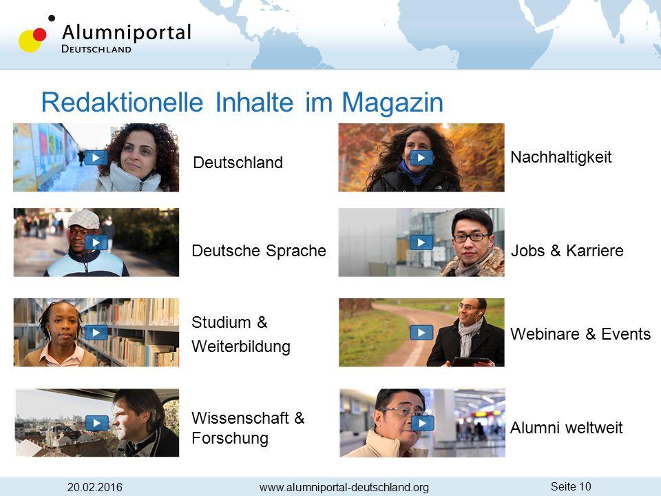 Seite 10 20.02.2016 Deutschland Deutsche Sprache Studium & Weiterbildung Wissenschaft & Forschung Nachhaltigkeit Jobs & Karriere Webinare & Events Alu
