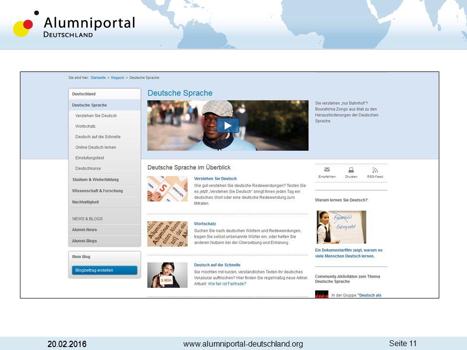 Seite 11 20.02.2016 www.alumniportal-deutschland.org