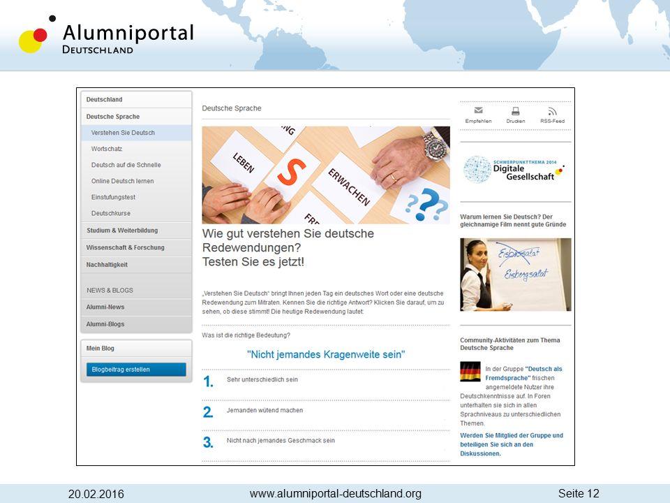 Seite 12 20.02.2016 www.alumniportal-deutschland.org