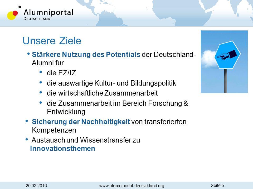 Seite 5 20.02.2016 Unsere Ziele www.alumniportal-deutschland.org Stärkere Nutzung des Potentials der Deutschland- Alumni für die EZ/IZ die auswärtige