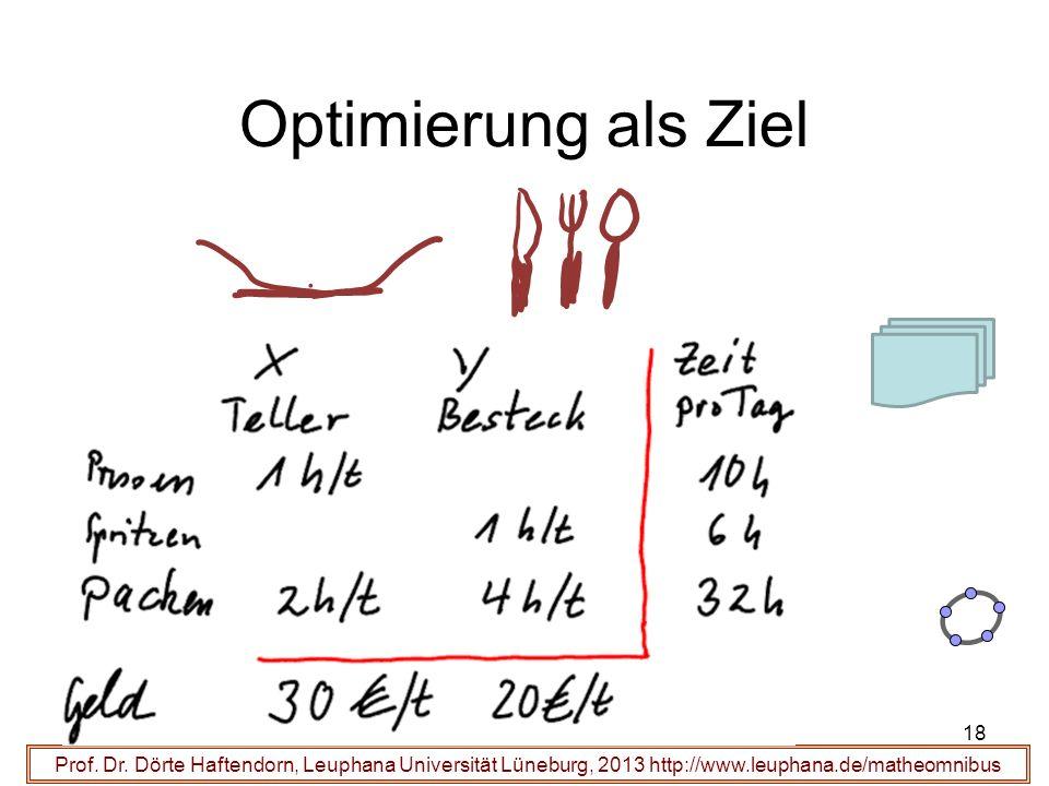 Prof. Dr. Dörte Haftendorn, Leuphana Universität Lüneburg, 2013 http://www.leuphana.de/matheomnibus Optimierung als Ziel 18