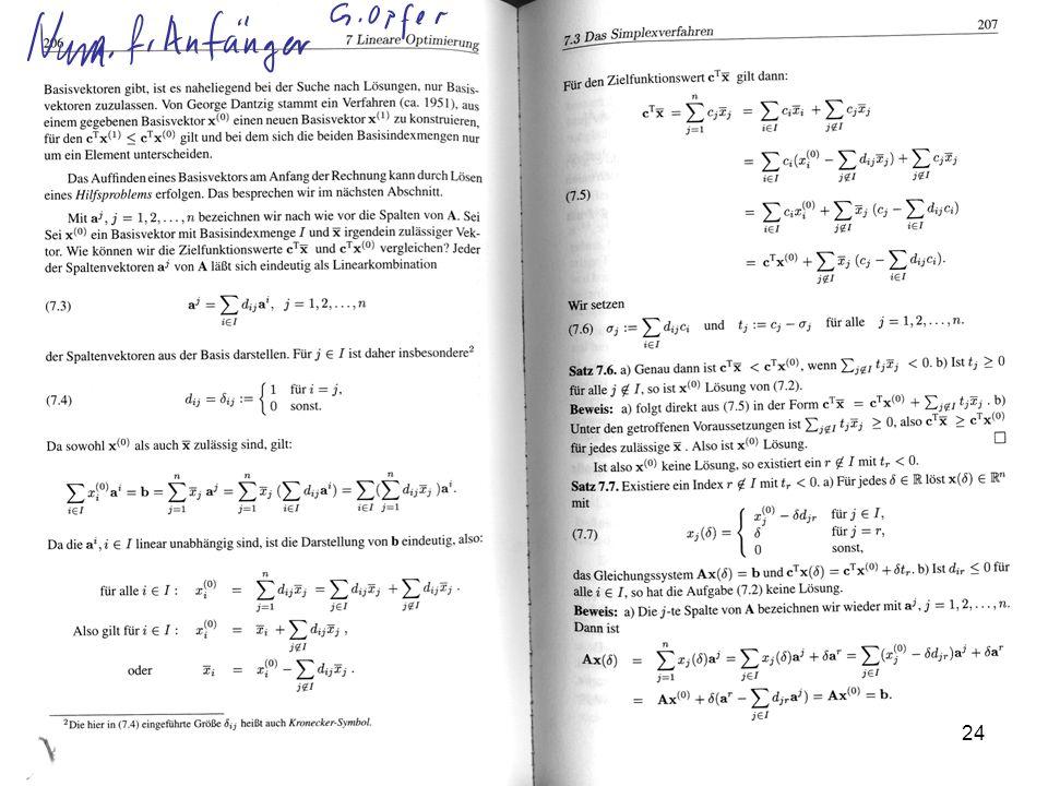 Lineare Optimierung Prof. Dr. Dörte Haftendorn, Leuphana Universität Lüneburg, 2013 http://www.leuphana.de/matheomnibus GeoGebra 24