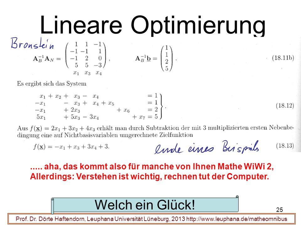 Lineare Optimierung Prof. Dr. Dörte Haftendorn, Leuphana Universität Lüneburg, 2013 http://www.leuphana.de/matheomnibus..... aha, das kommt also für m