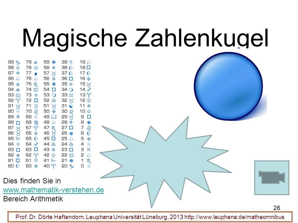 Magische Zahlenkugel Prof. Dr. Dörte Haftendorn, Leuphana Universität Lüneburg, 2013 http://www.leuphana.de/matheomnibus 26 Dies finden Sie in www.mat