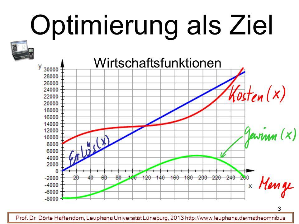 Optimierung als Ziel Prof. Dr. Dörte Haftendorn, Leuphana Universität Lüneburg, 2013 http://www.leuphana.de/matheomnibus Wirtschaftsfunktionen 3