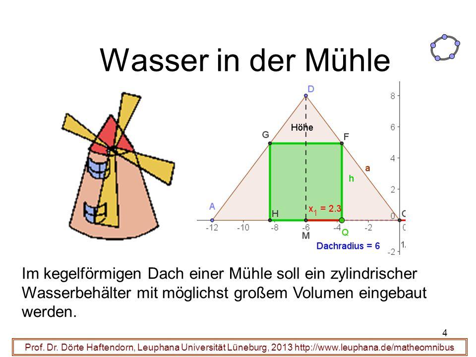 Wasser in der Mühle Prof. Dr. Dörte Haftendorn, Leuphana Universität Lüneburg, 2013 http://www.leuphana.de/matheomnibus Im kegelförmigen Dach einer Mü