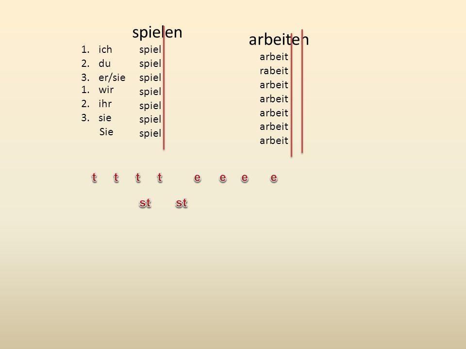 werd wir wird werd hab ha hab haben Preesens/epäsäännöllisiä 1.wir 2.ihr 3.sie Sie bin bist ist sind seid sind 1.ich 2.du 3.er/sie sein 1.ich 2.du 3.er/sie 1.wir 2.ihr 3.sie Sie e st t en t en 1.ich 2.du 3.er/sie 1.wir 2.ihr 3.sie Sie e st t en t en fahren werdenwissen 1.wir 2.ihr 3.sie Sie 1.ich 2.du 3.er/sie 1.wir 2.ihr 3.sie Sie 1.ich 2.du 3.er/sie e e st en t en weiß wiss t en t en
