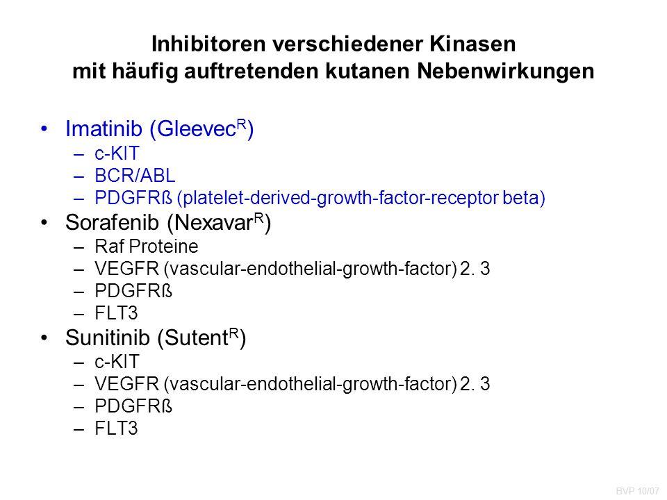 Inhibitoren verschiedener Kinasen mit häufig auftretenden kutanen Nebenwirkungen Imatinib (Gleevec R ) –c-KIT –BCR/ABL –PDGFRß (platelet-derived-growth-factor-receptor beta) Sorafenib (Nexavar R ) –Raf Proteine –VEGFR (vascular-endothelial-growth-factor) 2.