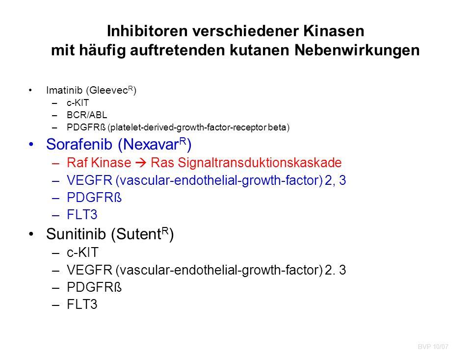 Imatinib (Gleevec R ) –c-KIT –BCR/ABL –PDGFRß (platelet-derived-growth-factor-receptor beta) Sorafenib (Nexavar R ) –Raf Kinase  Ras Signaltransduktionskaskade –VEGFR (vascular-endothelial-growth-factor) 2, 3 –PDGFRß –FLT3 Sunitinib (Sutent R ) –c-KIT –VEGFR (vascular-endothelial-growth-factor) 2.