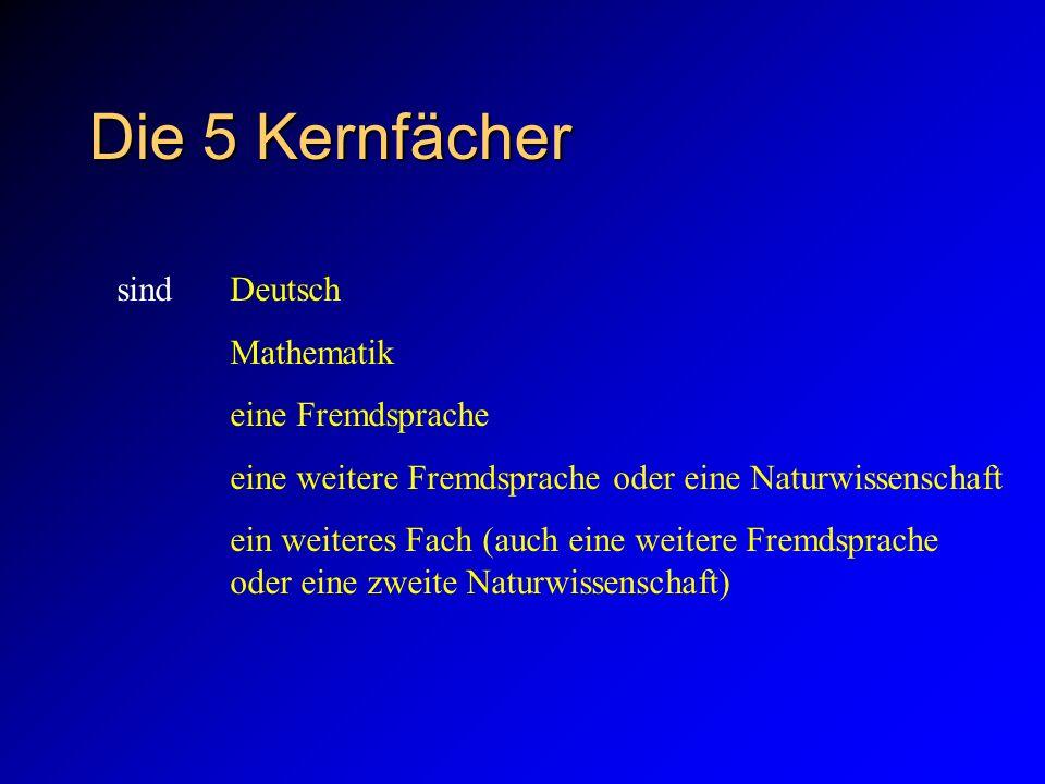 Die 5 Kernfächer sind Deutsch Mathematik eine Fremdsprache eine weitere Fremdsprache oder eine Naturwissenschaft ein weiteres Fach (auch eine weitere Fremdsprache oder eine zweite Naturwissenschaft)
