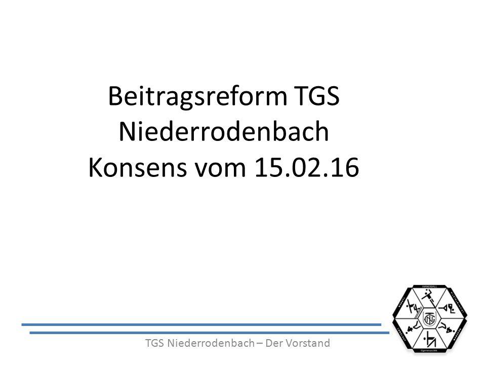 Beitragsreform TGS Niederrodenbach Konsens vom 15.02.16 TGS Niederrodenbach – Der Vorstand