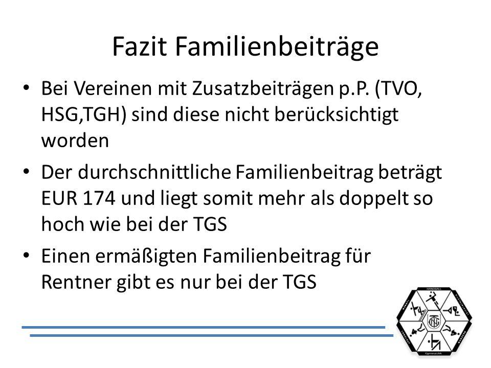 Fazit Familienbeiträge Bei Vereinen mit Zusatzbeiträgen p.P. (TVO, HSG,TGH) sind diese nicht berücksichtigt worden Der durchschnittliche Familienbeitr