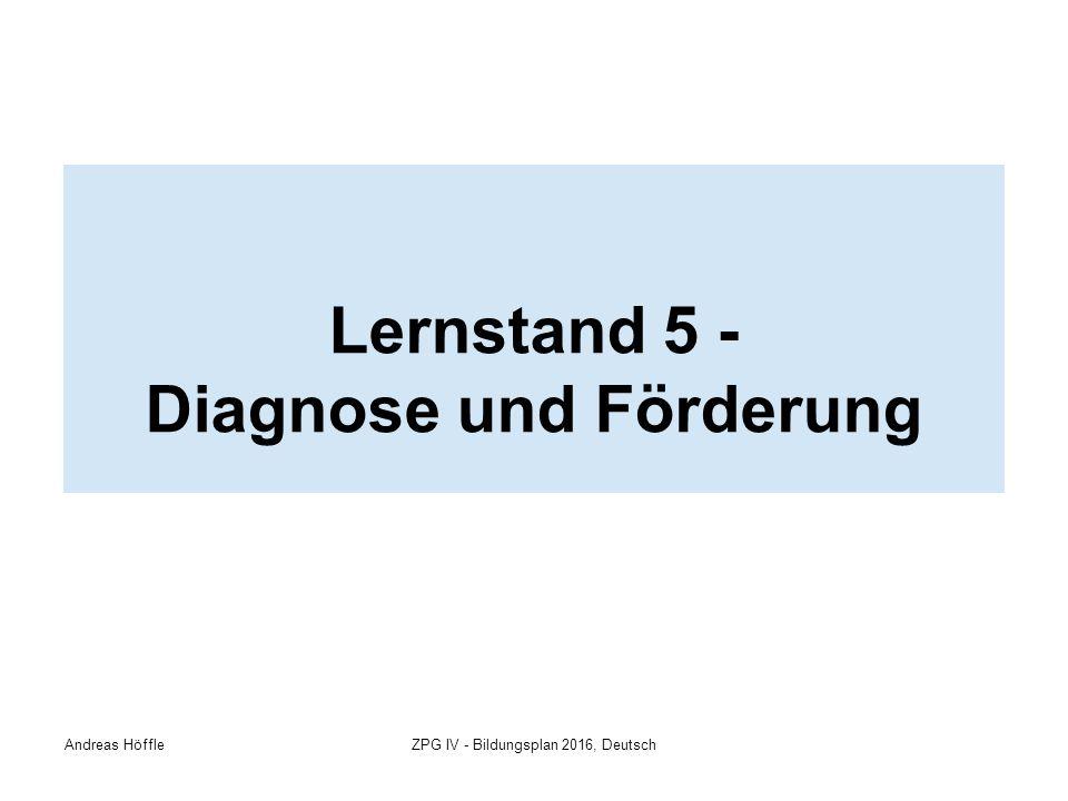 Andreas HöffleZPG IV - Bildungsplan 2016, Deutsch Lernstand 5 - Diagnose und Förderung