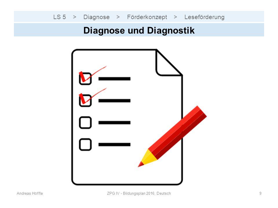 LS 5 > Diagnose > Förderkonzept > Leseförderung Andreas HöffleZPG IV - Bildungsplan 2016, Deutsch9 Diagnose und Diagnostik