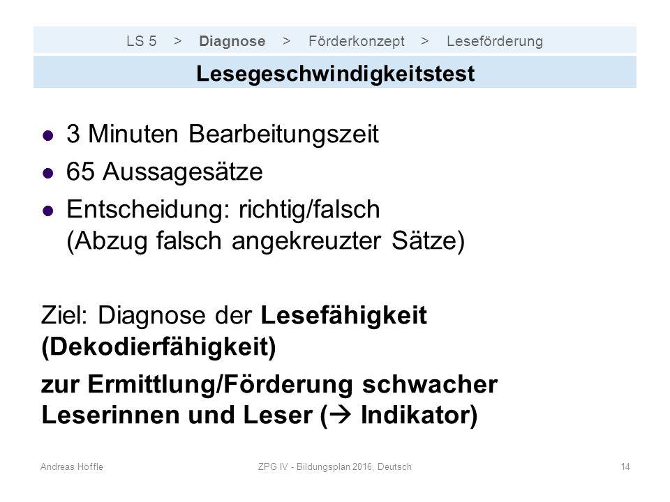 LS 5 > Diagnose > Förderkonzept > Leseförderung Andreas HöffleZPG IV - Bildungsplan 2016, Deutsch14 Lesegeschwindigkeitstest 3 Minuten Bearbeitungszei