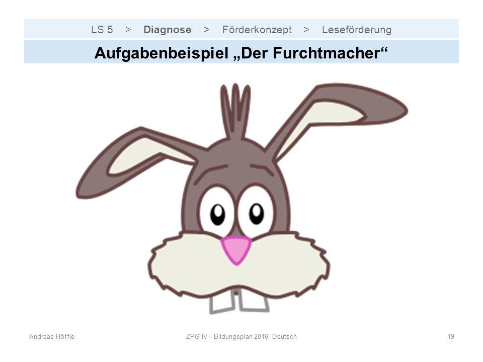 """LS 5 > Diagnose > Förderkonzept > Leseförderung Andreas HöffleZPG IV - Bildungsplan 2016, Deutsch19 Aufgabenbeispiel """"Der Furchtmacher"""""""