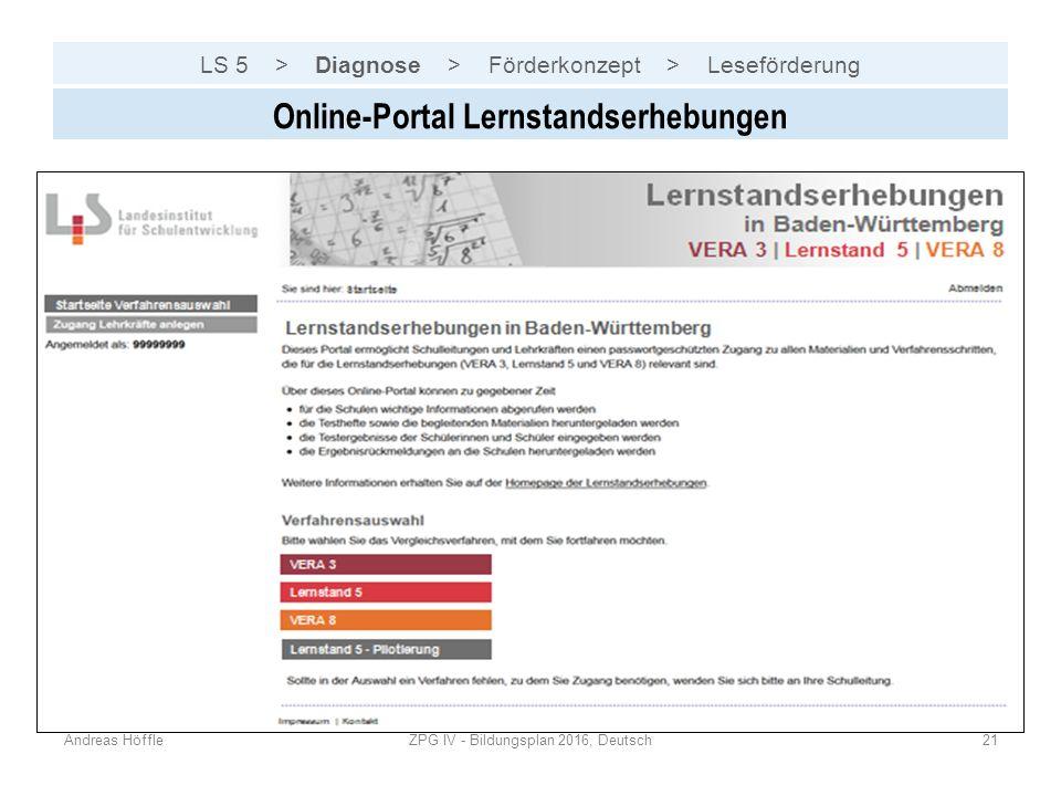 LS 5 > Diagnose > Förderkonzept > Leseförderung Andreas HöffleZPG IV - Bildungsplan 2016, Deutsch21 Online-Portal Lernstandserhebungen